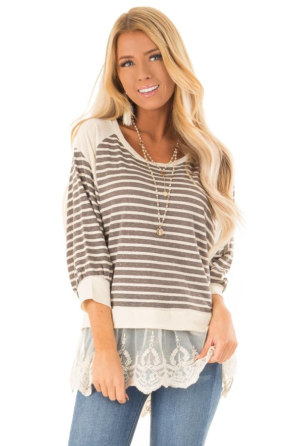 a5a1ebb8221c Charcoal and Oatmeal Striped Dolman Top with Lace Detail - Lime Lush ...