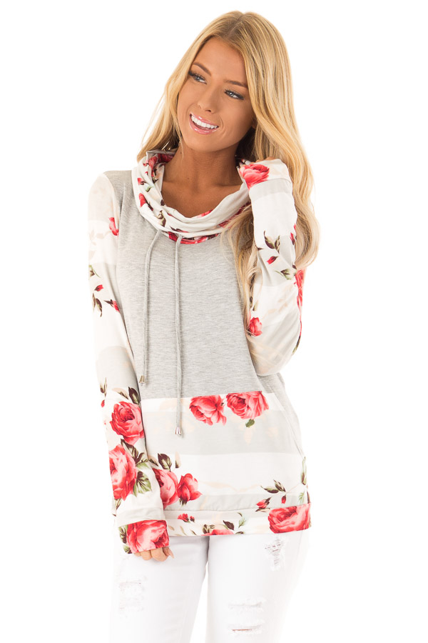Heather Grey Cowl Neck Long Sleeve Top with Floral Contrast front close up