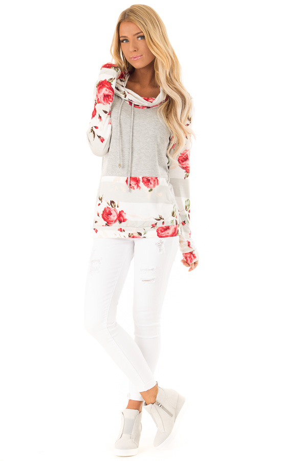Heather Grey Cowl Neck Long Sleeve Top with Floral Contrast front full body