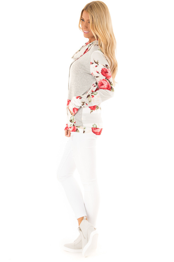Heather Grey Cowl Neck Long Sleeve Top with Floral Contrast side full body