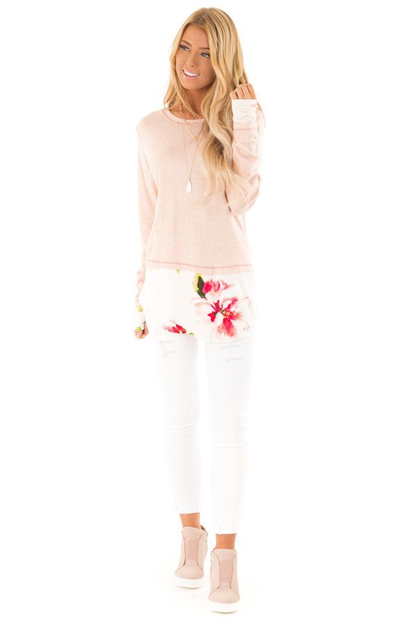 Ballet Pink Long Sleeve Knit Tunic Top with Floral Contrast front full body