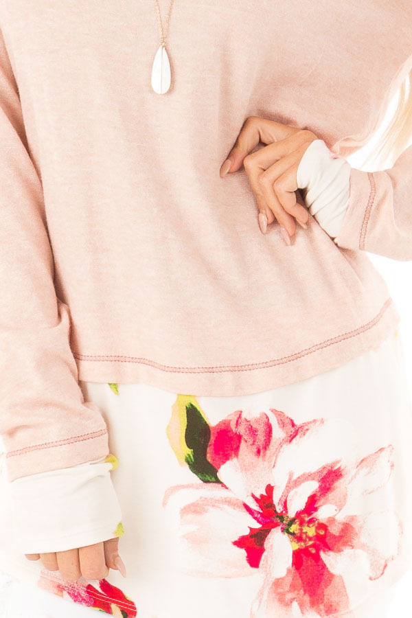 Ballet Pink Long Sleeve Knit Tunic Top with Floral Contrast detail