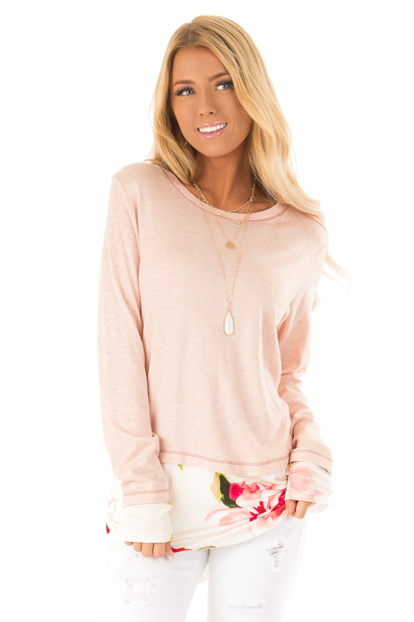 Ballet Pink Long Sleeve Knit Tunic Top with Floral Contrast front close up