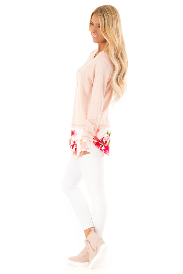 Ballet Pink Long Sleeve Knit Tunic Top with Floral Contrast side full body