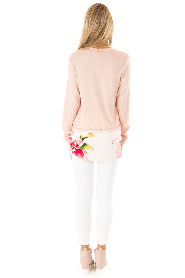 Ballet Pink Long Sleeve Knit Tunic Top with Floral Contrast back full body