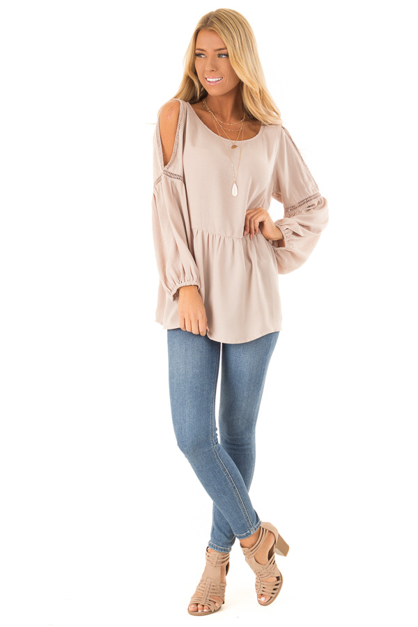 Champagne Cold Shoulder Long Sleeve Top front full body