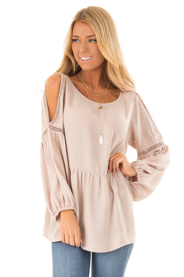 Champagne Cold Shoulder Long Sleeve Top front close up
