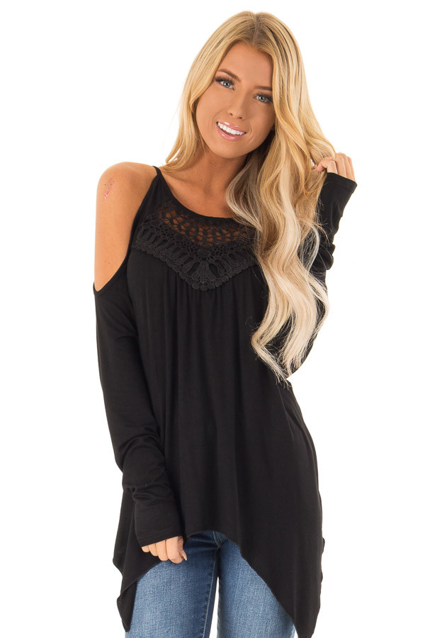 Black Long Sleeve Cold Shoulder Top with Crochet Detail front close up