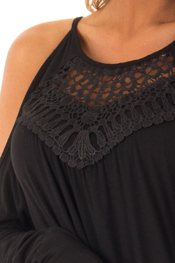 Black Long Sleeve Cold Shoulder Top with Crochet Detail detail