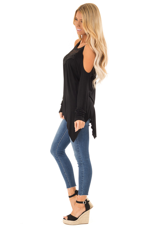 Black Long Sleeve Cold Shoulder Top with Crochet Detail side full body