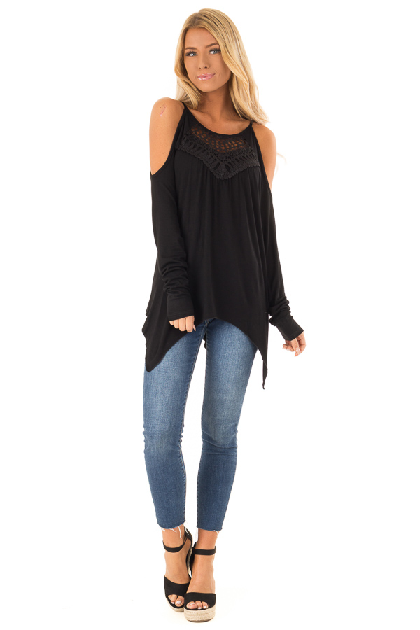 Black Long Sleeve Cold Shoulder Top with Crochet Detail front full body