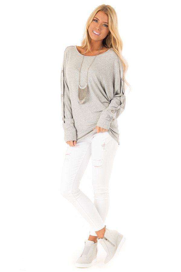 c1271852c8eb5 ... Stone Grey Off the Shoulder Tunic with Button Detail front full body ...