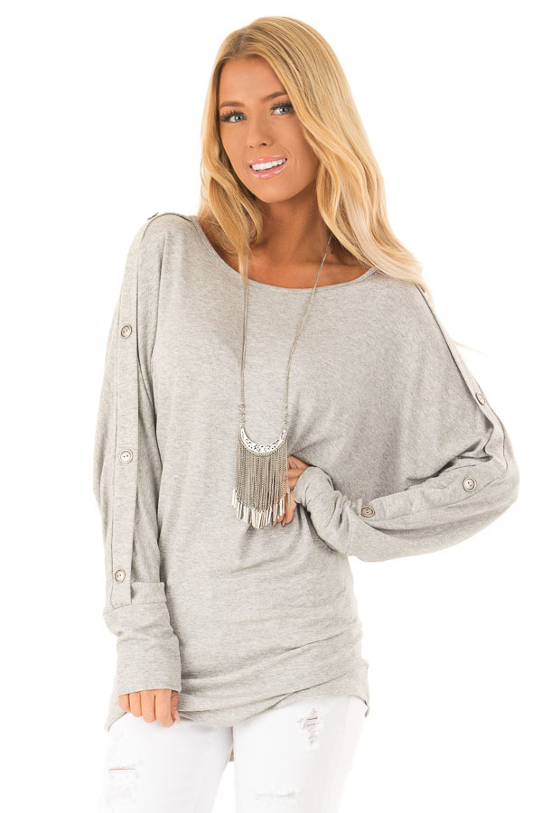 aebd6c1d32d9 Stone Grey Off the Shoulder Tunic with Button Detail - Lime Lush ...