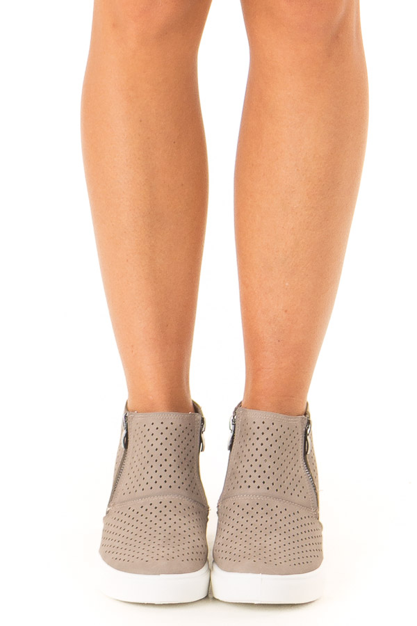 Deep Taupe Casual High Top Sneakers with Cutouts front view