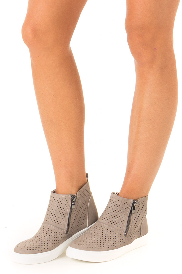 Deep Taupe Casual High Top Sneakers with Cutouts side view