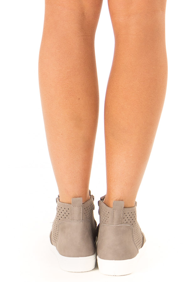 Deep Taupe Casual High Top Sneakers with Cutouts back view