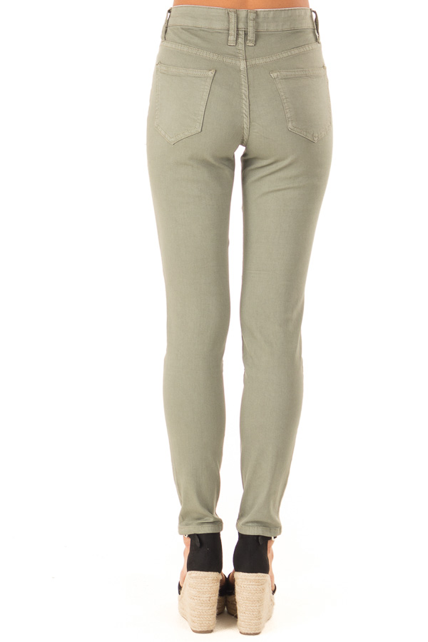Faded Olive Moto Skinny Jeans back view