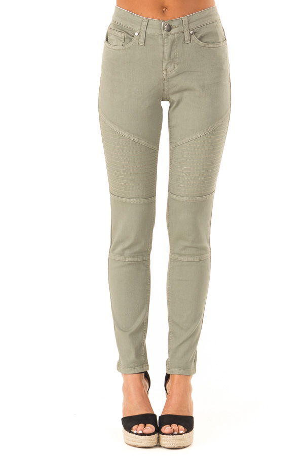 Faded Olive Moto Skinny Jeans front view