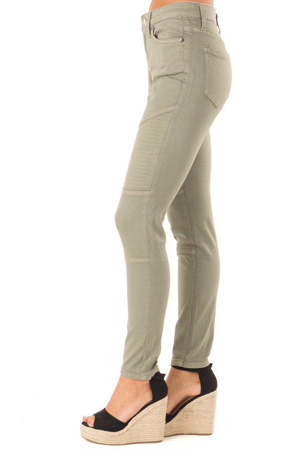 Faded Olive Moto Skinny Jeans side view