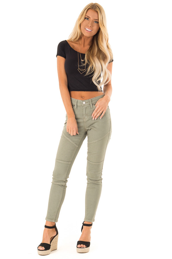 Faded Olive Moto Skinny Jeans front full body