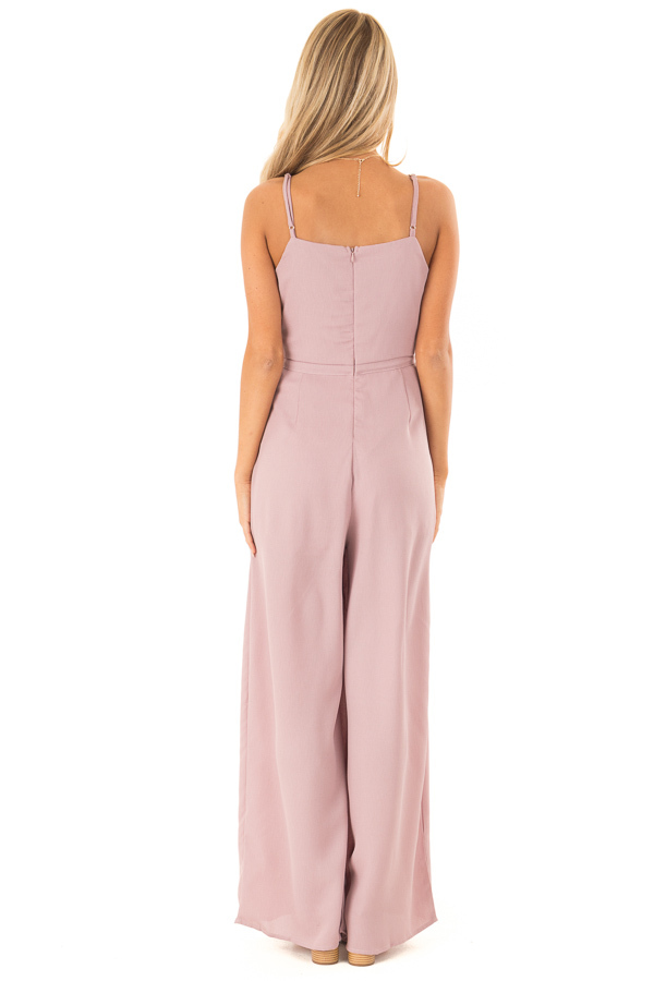 Dusty Mauve Spaghetti Strap Jumpsuit with Waist Tie back full body