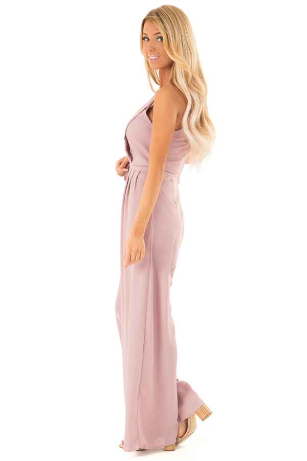 Dusty Mauve Spaghetti Strap Jumpsuit with Waist Tie side full body
