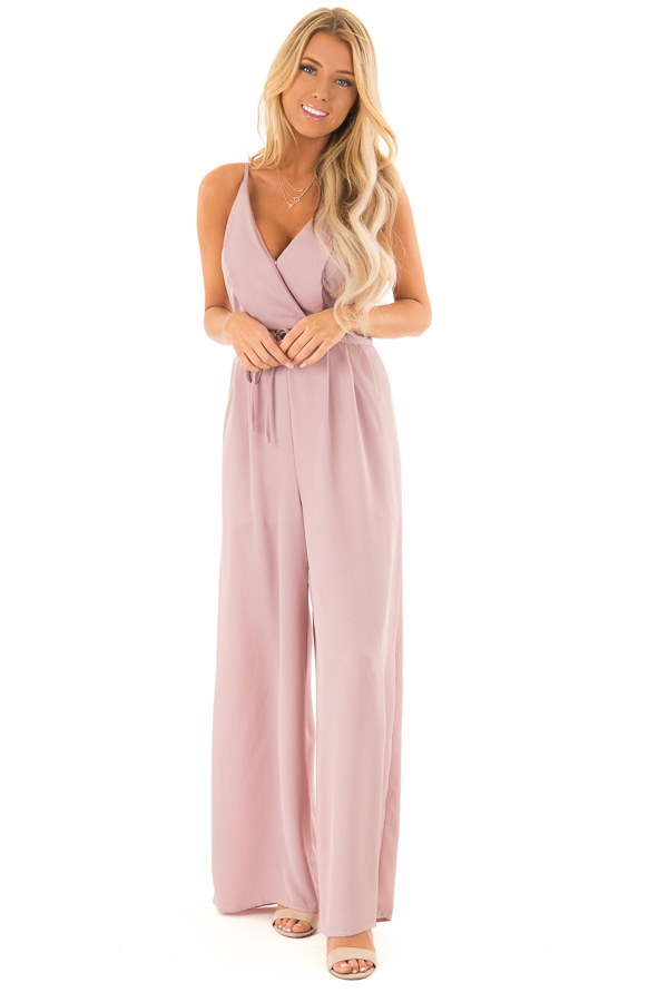 Dusty Mauve Spaghetti Strap Jumpsuit with Waist Tie front full body