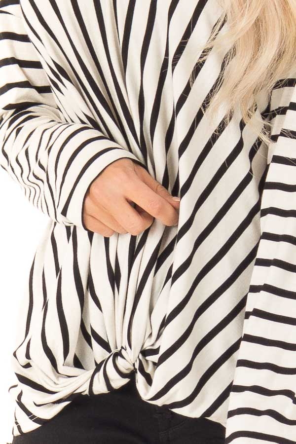 Black and Ivory Striped V Neck Top with Front Knot detail