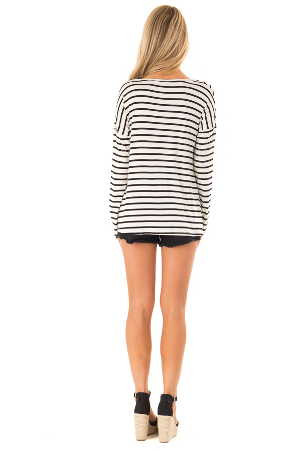 Black and Ivory Striped V Neck Top with Front Knot back full body