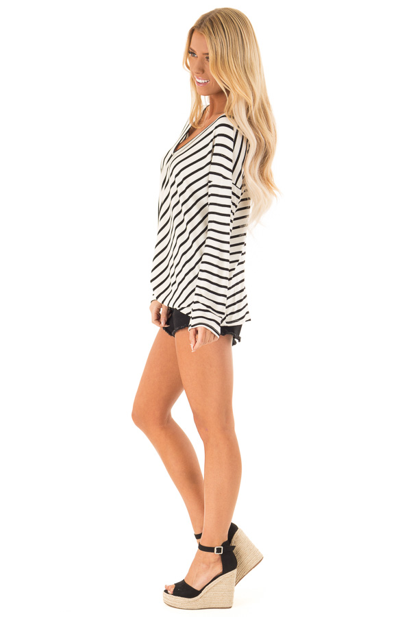 Black and Ivory Striped V Neck Top with Front Knot side full body