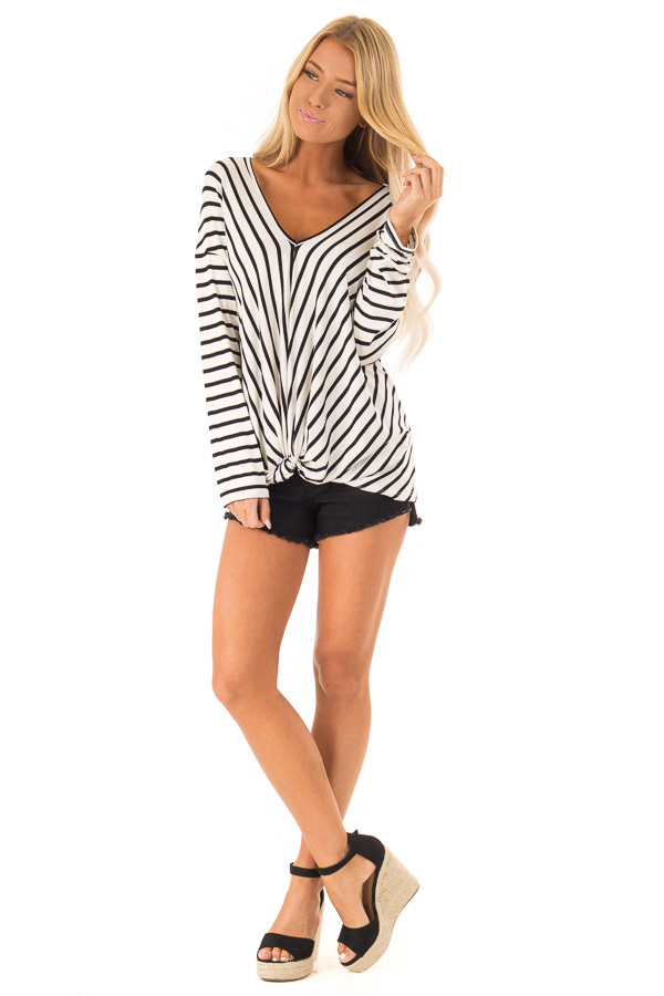 Black and Ivory Striped V Neck Top with Front Knot front full body