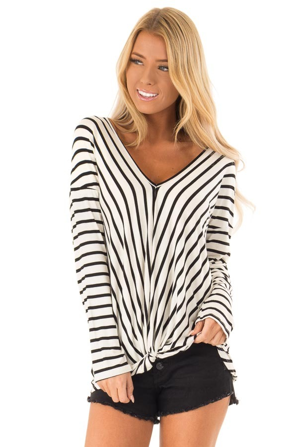 Black and Ivory Striped V Neck Top with Front Knot front close up