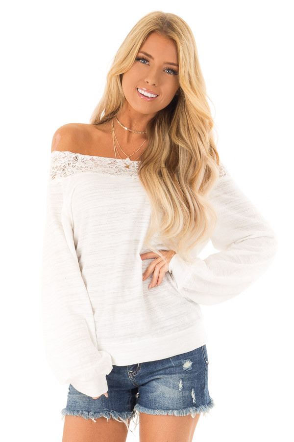 2a364045bb145a Off White Off Shoulder Long Sleeve Top with Lace Detail - Lime Lush ...