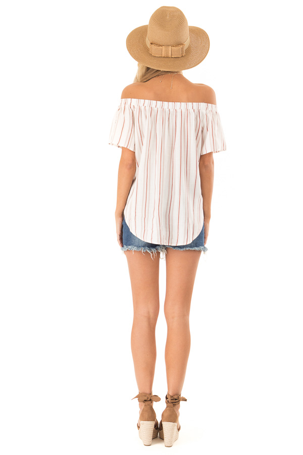 White and Dusty Rust Striped Off the Shoulder Blouse back full body
