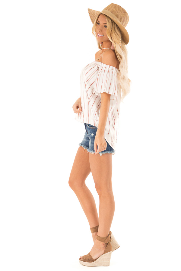 White and Dusty Rust Striped Off the Shoulder Blouse side full body