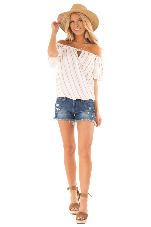 White and Dusty Rust Striped Off the Shoulder Blouse front full body