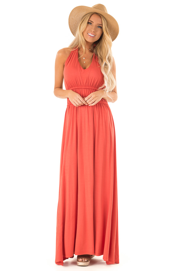 2ccb157704 Tangelo Halter Maxi Dress with Open Back and Braided Detail front full body