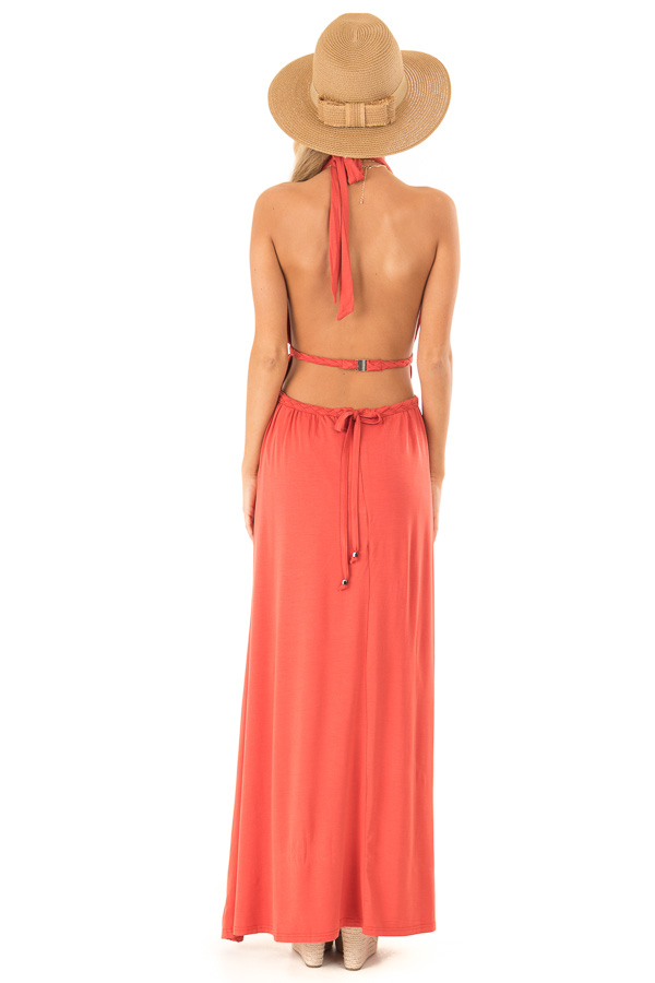 4bdc9b8c20 Tangelo Halter Maxi Dress with Open Back and Braided Detail back full body