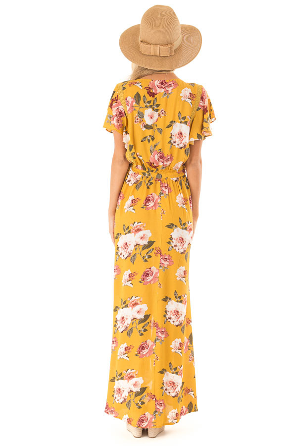 Golden Floral Button Up Maxi Dress with Waist Tie back full body