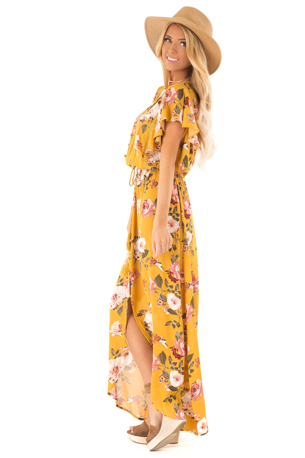Golden Floral Button Up Maxi Dress with Waist Tie side full body