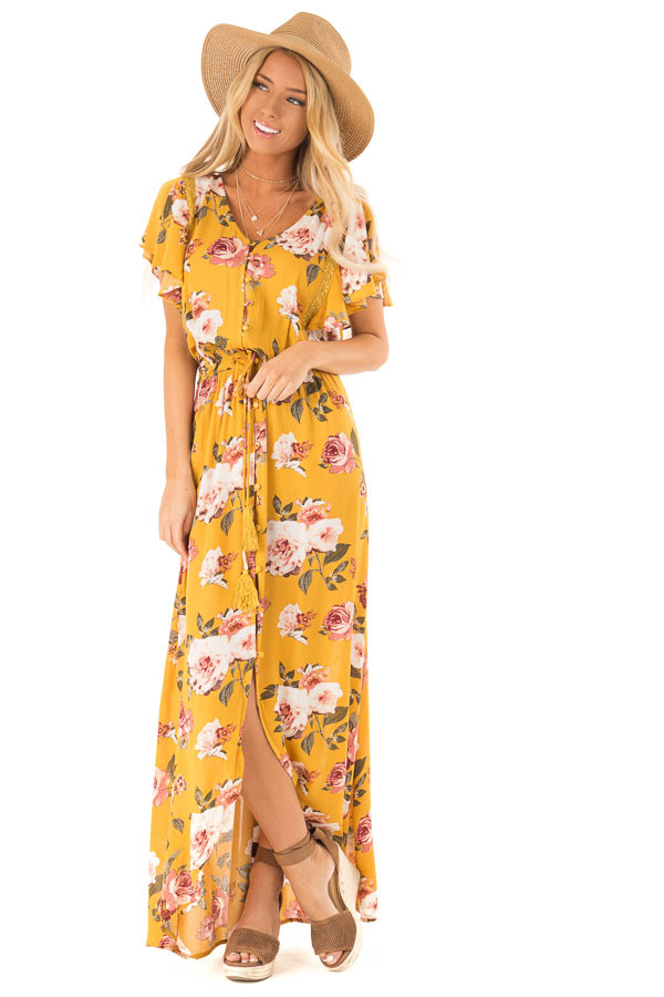 Golden Floral Button Up Maxi Dress with Waist Tie front full body