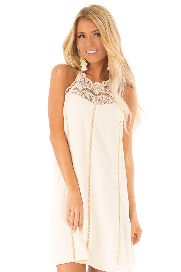 Cream Halter Dress with Crochet Lace and Back Keyhole front close up