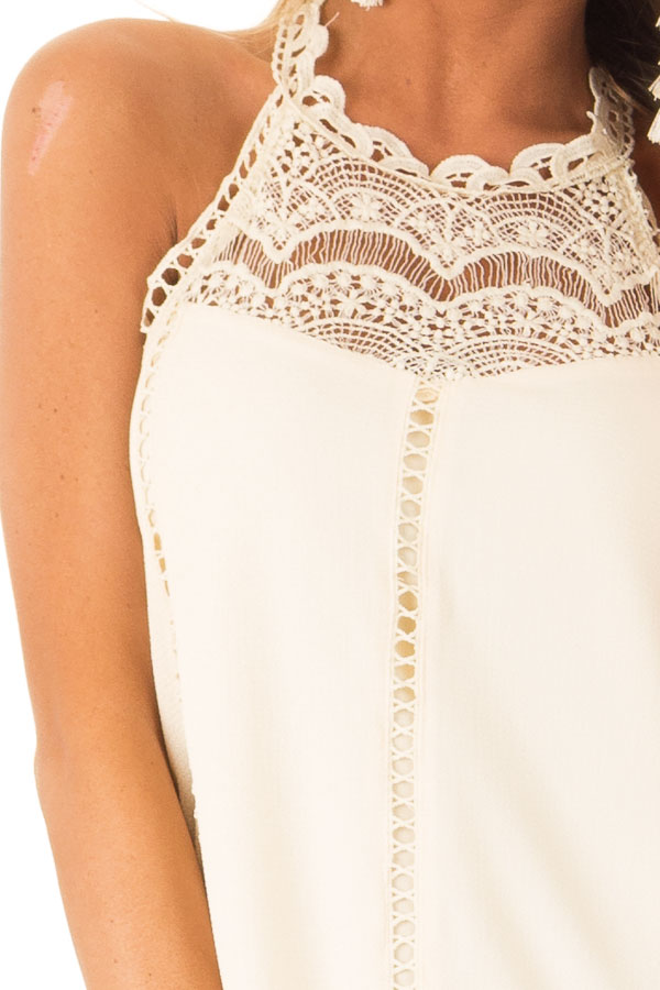 Cream Halter Dress with Crochet Lace and Back Keyhole detail