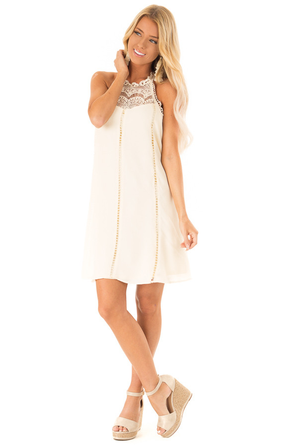 Cream Halter Dress with Crochet Lace and Back Keyhole front full body