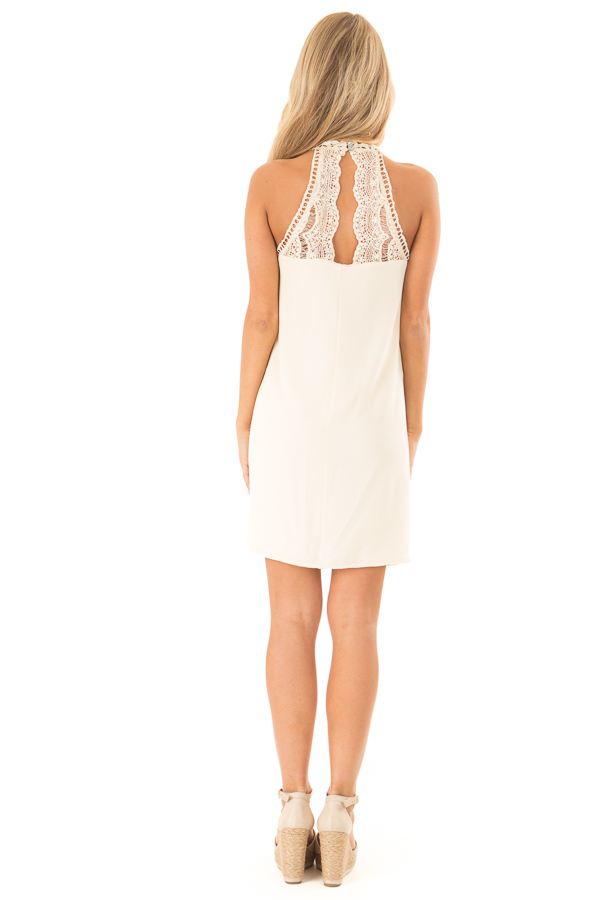 Cream Halter Dress with Crochet Lace and Back Keyhole back full body
