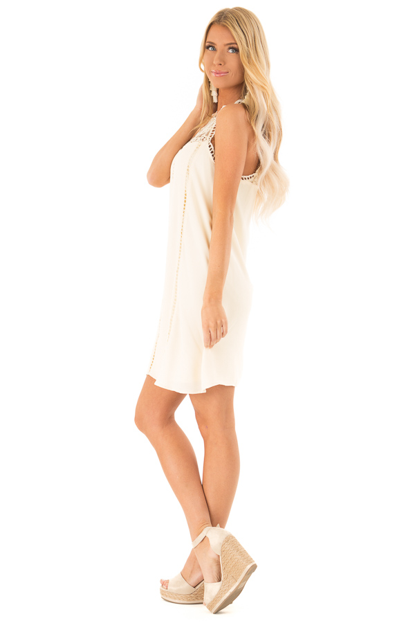 Cream Halter Dress with Crochet Lace and Back Keyhole side full body