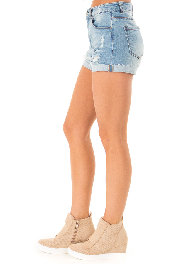 Light Wash Mid Rise Cuffed Shorts with Raw Hem side view