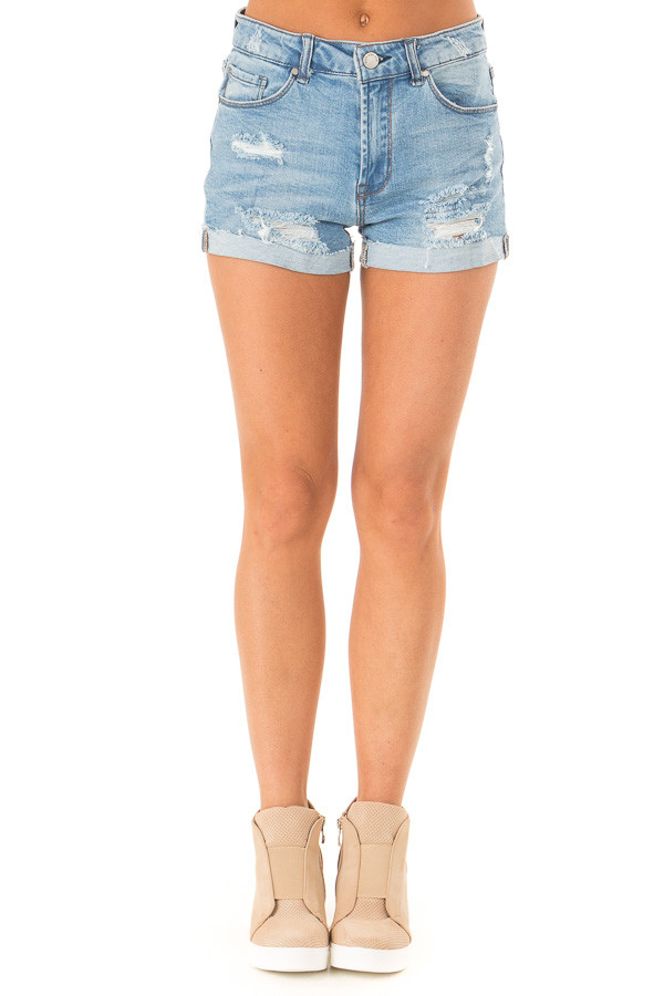 Light Wash Mid Rise Cuffed Shorts with Raw Hem front view