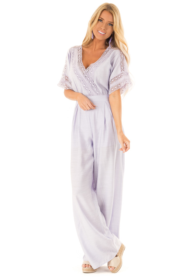 7dfc31f7fb5 Lavender Wide Leg Crossover Jumpsuit with Crochet Details front full body