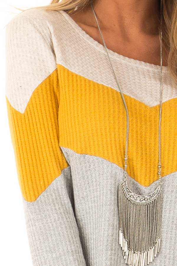 Heather Grey and Mustard Color Block Long Sleeve Top detail